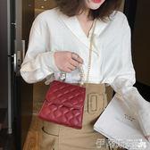 鍊條包女包2019夏天韓版珍珠小香風菱格鍊條側背包洋氣手提斜背包 伊蒂斯女裝