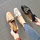 粗跟單鞋女2019春季新款軟妹小皮鞋仙女百搭韓版一腳蹬中跟樂福鞋『艾麗花園』