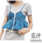 EASON SHOP GU5730 遮小腹神器荷葉邊鬆緊腰拉鏈裝飾 短版牛仔吊帶背心裙水洗淺藍細肩帶背帶