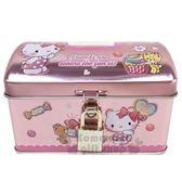 〔小禮堂〕Hello Kitty 方形鐵製存錢筒附鎖《粉拿汽球》撲滿儲金筒收納盒4901610 20714