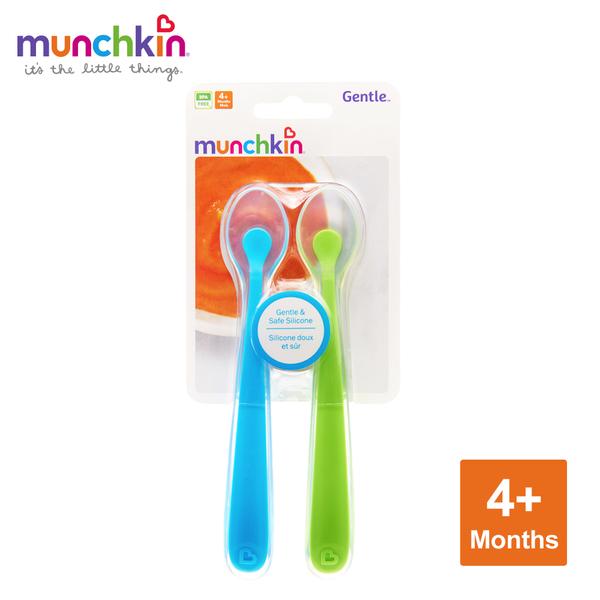 munchkin滿趣健-矽膠湯匙2入-藍/綠