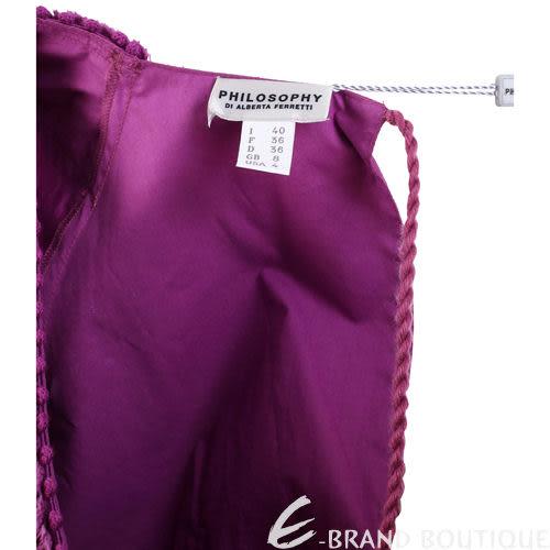 PHILOSOPHY 紫色抓褶短袖V領洋裝 1120170-04