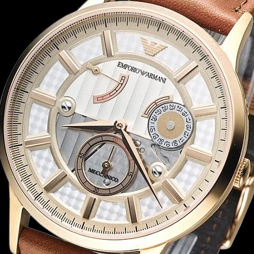ARMANI 時空旅人自動機械男錶(AR4662)-玫瑰金框/褐【屈臣氏】