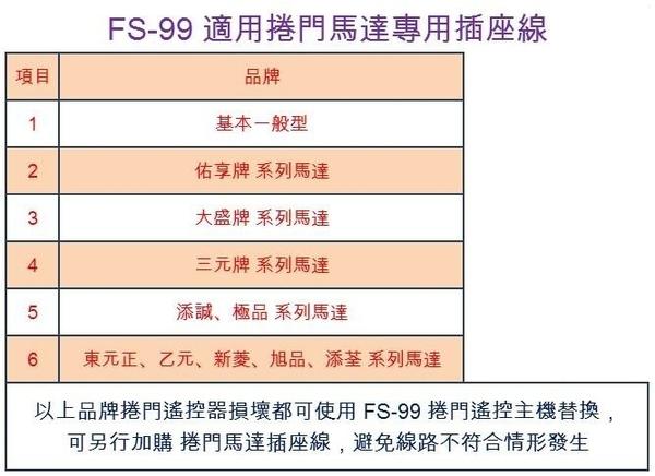 FS-99 電動鐵捲門遙控器 可更換各廠牌 鐵卷門搖控器 滾碼長距離 防盜拷防掃描 捲門馬達 電動門