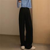 西裝褲 闊腿褲女高腰垂感顯瘦直筒褲夏季寬鬆黑色褲子西裝褲百搭拖地長褲【快速出貨八折搶購】