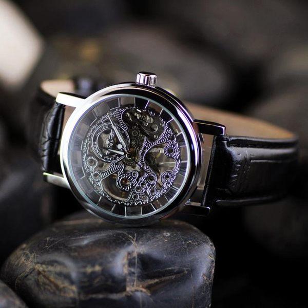 售完即止-韓版經典復古手錶鏤空機械錶英倫時尚夜光時裝錶透底皮帶男錶7-20(庫存清出S)