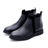 MICHELLE PARK 風潮指標 皮革拼接低跟短靴-黑