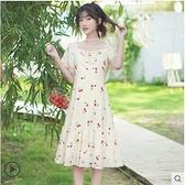 洋裝 2020夏裝新款初戀系仙女裙短袖雪紡碎花洋裝學生方領長裙