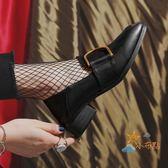 牛津鞋復古學院風布洛克單鞋拼色潮鞋女2018春款英倫風女鞋粗跟小皮鞋女萊爾富免運