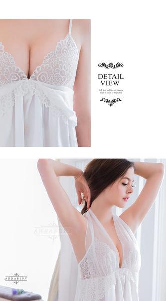 (特價) 大尺碼 Annabery純白緞面兩穿禮服式睡衣 (OS小舖)