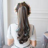 抓夾挑染女長卷髪馬尾大波浪逼真自然彩色假髮  ys389『毛菇小象』