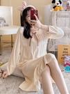 睡衣女春秋冬純棉公主風長袖睡裙中長款甜美可愛少女士全棉家居服 韓國時尚週
