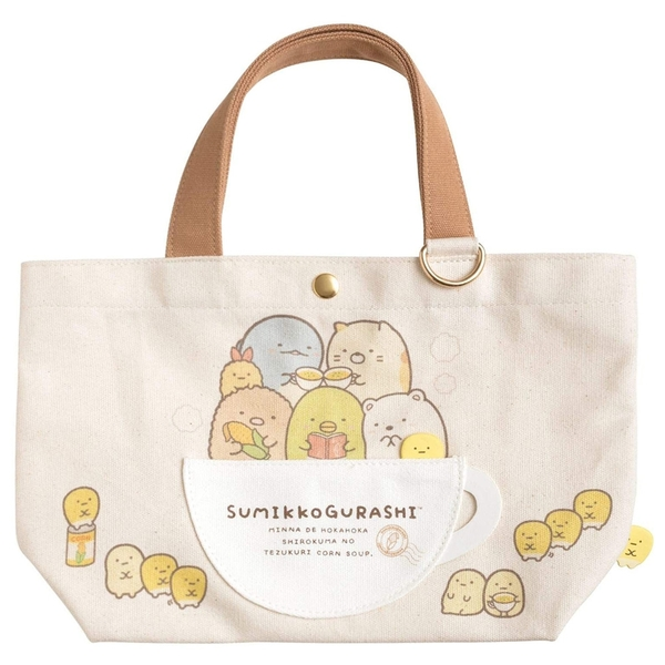SAN-X 角落生物 玉米濃湯系列 帆布手提袋 托特包 米_XS77706