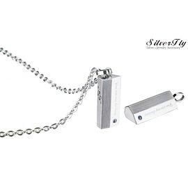 《SilverFly銀火蟲銀飾》【MiGO 2015 Stand by Me】愛的結晶白鋼項鍊 鑲嵌藍寶石 SPS677