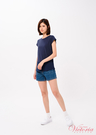 Victoria 下襬圓弧袖異材質拼接短袖T-女-深紫紅/深藍