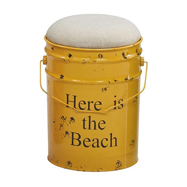 【森可家居】工業風水桶椅(黃色) 7JX250-5 美式復古風 收納椅凳