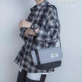 韓版男士單肩包撞色百搭斜背包情侶小背包街頭潮流郵差包男騎行包 蓓娜衣都