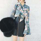 雪紡打底衫女春季喇叭袖碎花襯衫長袖上衣小衫時尚歐洲站 『CR水晶鞋坊』