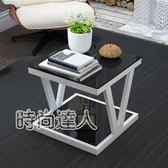 茶桌現代簡約邊几創意客廳正方角几沙發邊小茶几電話几北歐鋼化玻璃桌WY熱賣夯款
