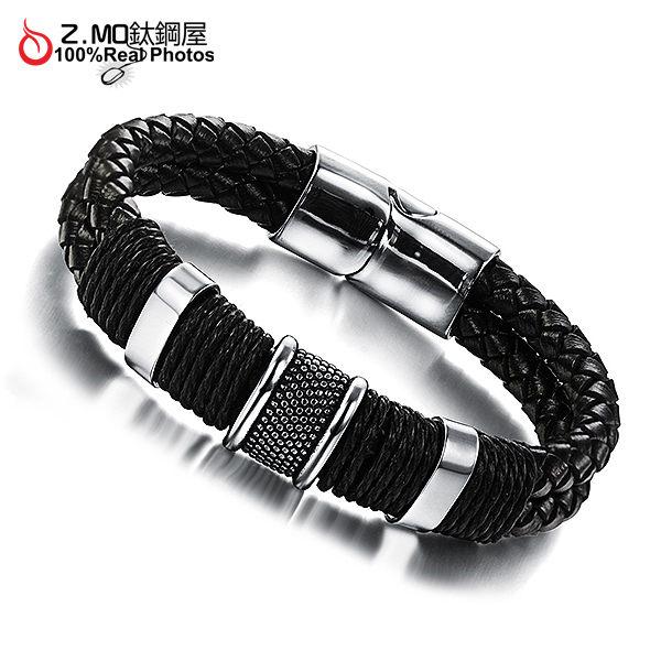 [Z-MO鈦鋼屋]編織皮繩手環/個性百搭款/中性手環/韓版手環推薦單件價【CKLS891】