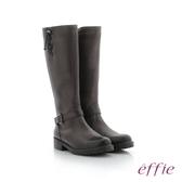 effie 個性美型 防潑水麂皮直筒靴 灰