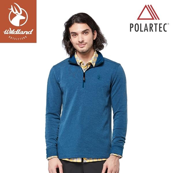 【Wildland 荒野 男 POLARTEC 彈性類羊毛功能上衣《帝國藍》】P2608/機能衣/保暖衣/衛生衣/內搭
