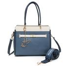 PLAYBOY- 方形手提包-附長背帶/寬背帶 摩登都市系列 -藍色
