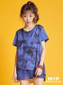 任選三件結帳享1折【2%】WIP X 2%拼接前衛光影後拉鍊造型上衣-藍