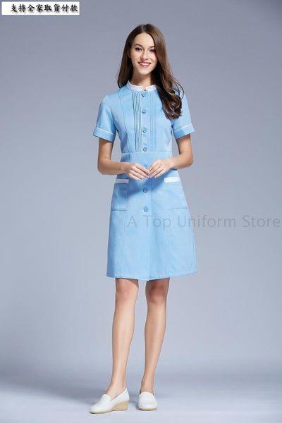 小熊居家韓版女裝立領裝飾邊修身護士服 美容整形醫院短袖時尚工作服特價