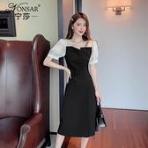 打底裙 2021年夏季新款赫本法式顯瘦小黑裙A字裙不規則拼接收腰連衣裙女 陽光好物