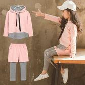 兩件套 韓版童套裝女童秋裝中大童兒童連帽條紋拼接兩件套潮童裝【小天使】