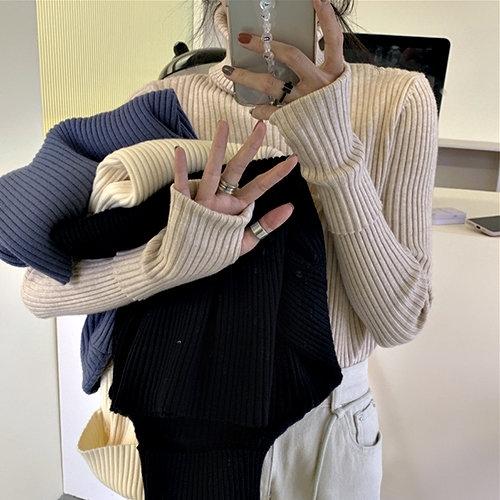 克妹Ke-Mei【AT63857】歐美INS當紅時髦利器素面高領修身針織上衣