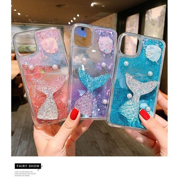 美人魚透明殼 iPhone 12 mini iPhone 12 11 pro Max流沙手機殼 珍珠貝殼 愛心閃粉 防摔軟殼