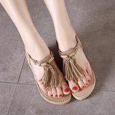 夏季韓版鬆糕厚底鞋 舒適流蘇平底鞋 羅馬涼鞋《小師妹》sm1972