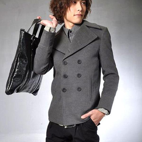 現貨出清不退不換,慎選-男款日系窄版合身羊毛呢毛料‧男雙排釦西裝【cn001】ibella
