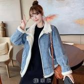 牛仔外套加絨加厚女秋冬2020新款韓版網紅bf羊羔毛絨短款夾克棉服 快速出貨