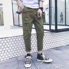 多口袋工裝褲男夏季直筒寬鬆褲子薄款休閒哈倫九分褲 港仔會社
