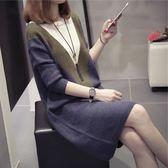 大碼女裝顯瘦遮肚針織連身裙女秋冬季中長款打底衫毛衣洋裝  萬客居