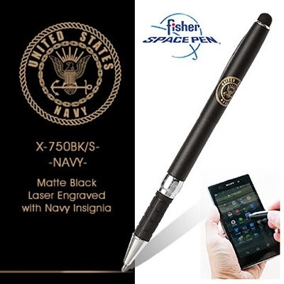 Fisher Stylus Space Pens 觸控兩用筆-霧黑色#X750BK/S-NAVY 霧黑色【AH02166】