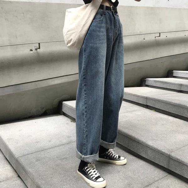 直筒褲韓版復古水洗街頭百搭高腰寬鬆bf直筒闊腿褲牛仔長褲女潮 新品
