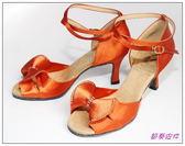 節奏皮件~國標舞鞋拉丁鞋款編號A6528 緞面鑲鑽舞鞋紅膚緞
