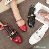 韓版方頭淺口單鞋女平底鞋女夏季淺口漆皮低跟後絆帶女鞋 小確幸生活館