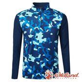 【wildland 荒野】男 彈性抗UV迷彩長袖功能衣『深藍』0A61632 輕薄 | 抗紫外線 | 吸濕 | 快乾