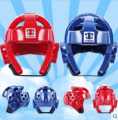 設計師美術精品館天權正品跆拳道頭盔/護頭紅色藍色 泰拳散打頭盔 一次成型護頭