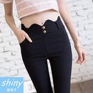 【V8071】shiny藍格子-簡搭風格.波浪造型高腰薄款小腳鉛筆褲