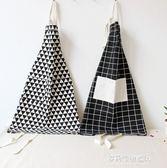 日式棉麻布藝情侶圍裙條紋雙口袋廚房工作服可愛圖案純棉家務圍裙   多莉絲旗艦店