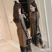網紗洋裝長袖韓版內搭長裙百搭蕾絲打底襯裙子 qw3437『俏美人大尺碼』