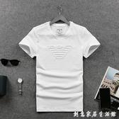 夏裝男士個性印花短袖t恤 潮款圓領純色純棉歐洲站修身打底衫 雙十一全館免運