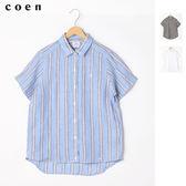 法國亞麻上衣 五分袖襯衫 女免運費 日本品牌【coen】