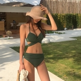 比基尼 性感三點式軍綠色鋼托聚攏罩杯性感顯胸個性綁帶分體泳衣女【快速出貨】